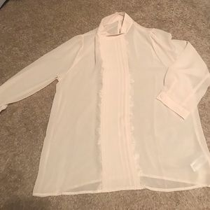Mock neck blouse with button closure